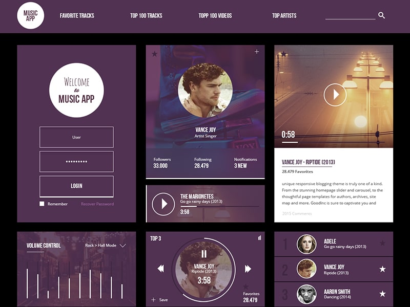 Free Music App UI Kit