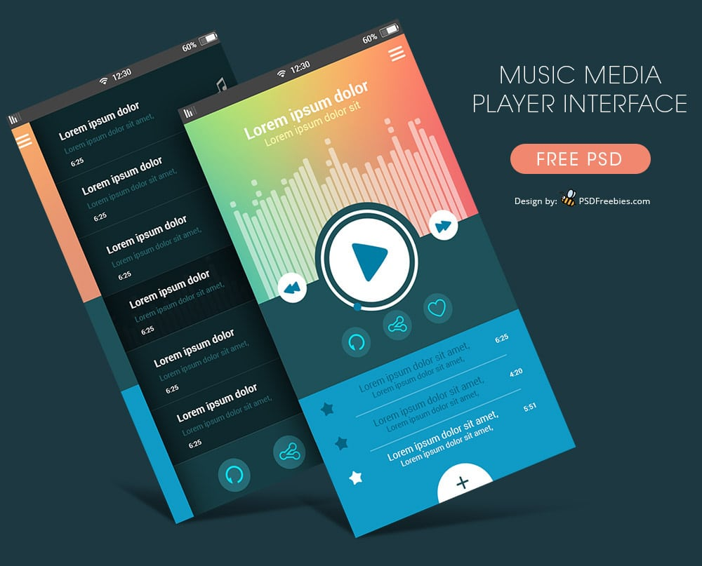 Free Music Media Player App UI PSD