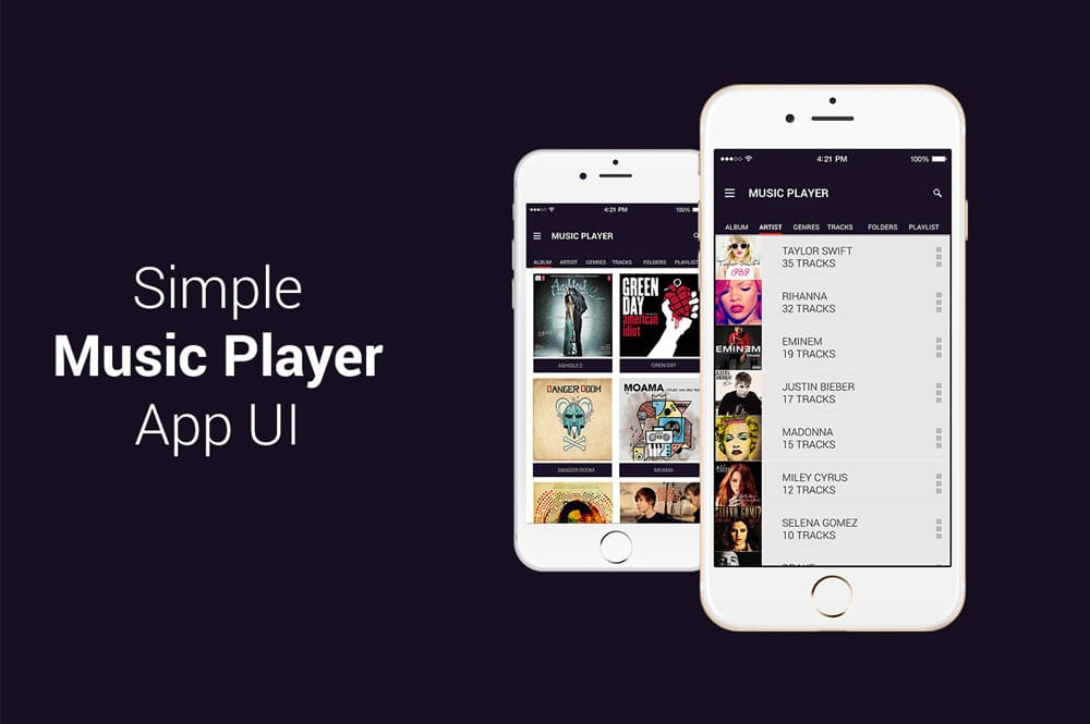 Free Music Player App UI PSD
