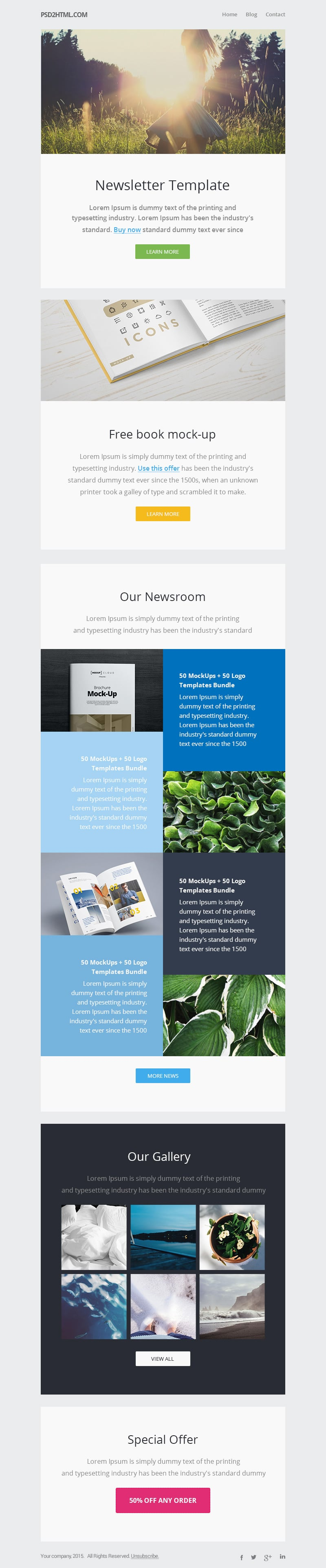 Free email newsletter templates psd css author for Newsletter layout templates free download