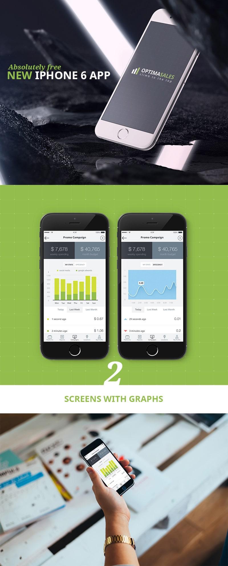 Free Optimasales iphone 6 App UI PSD