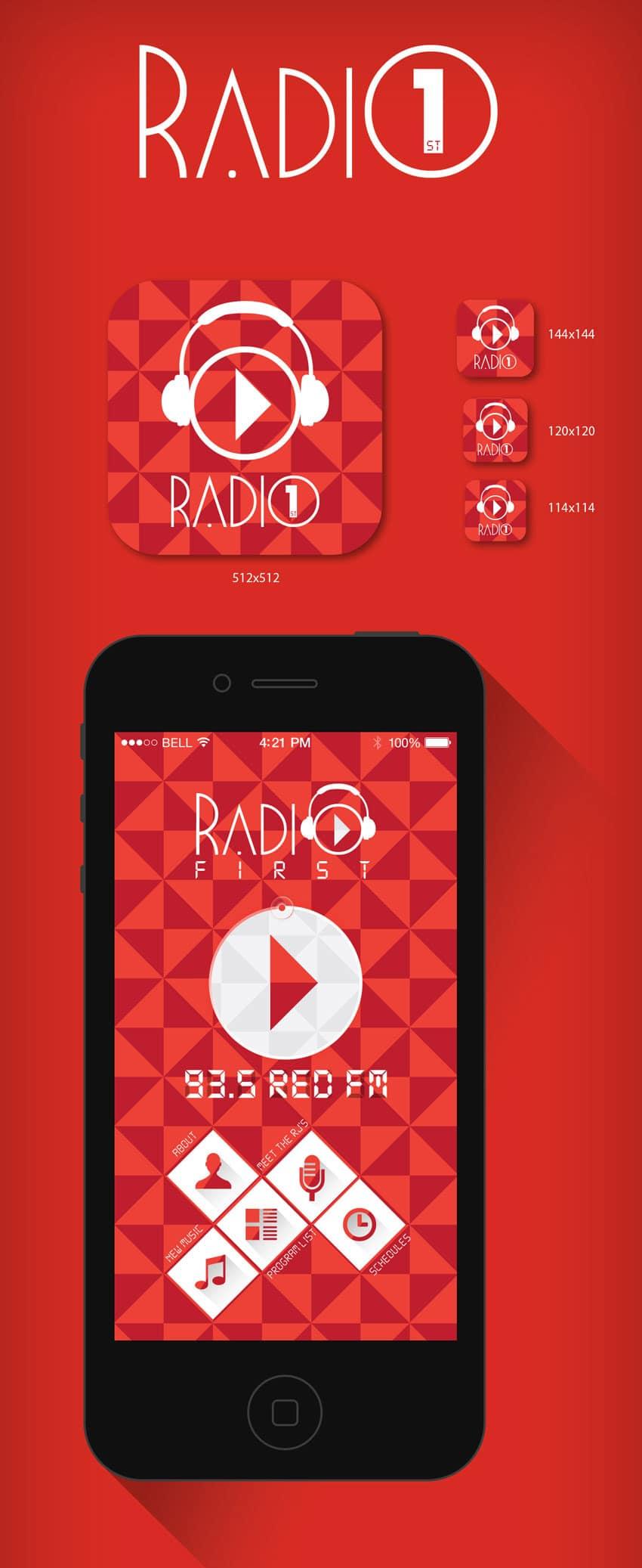 Free Radio iOS App psd
