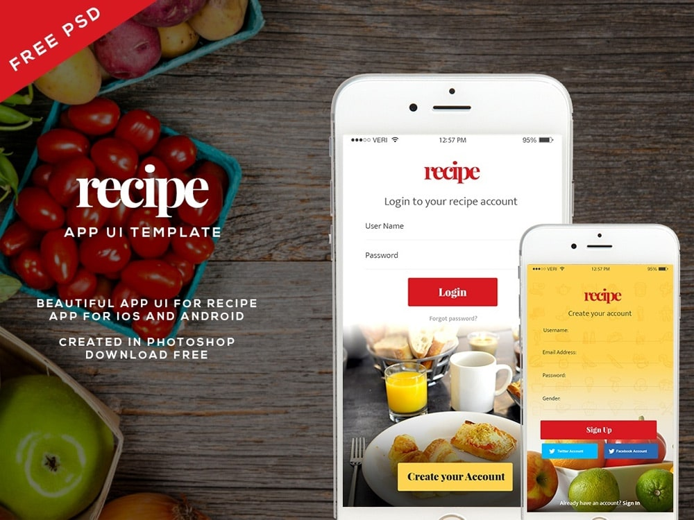 Free Recipe App UI Template PSD