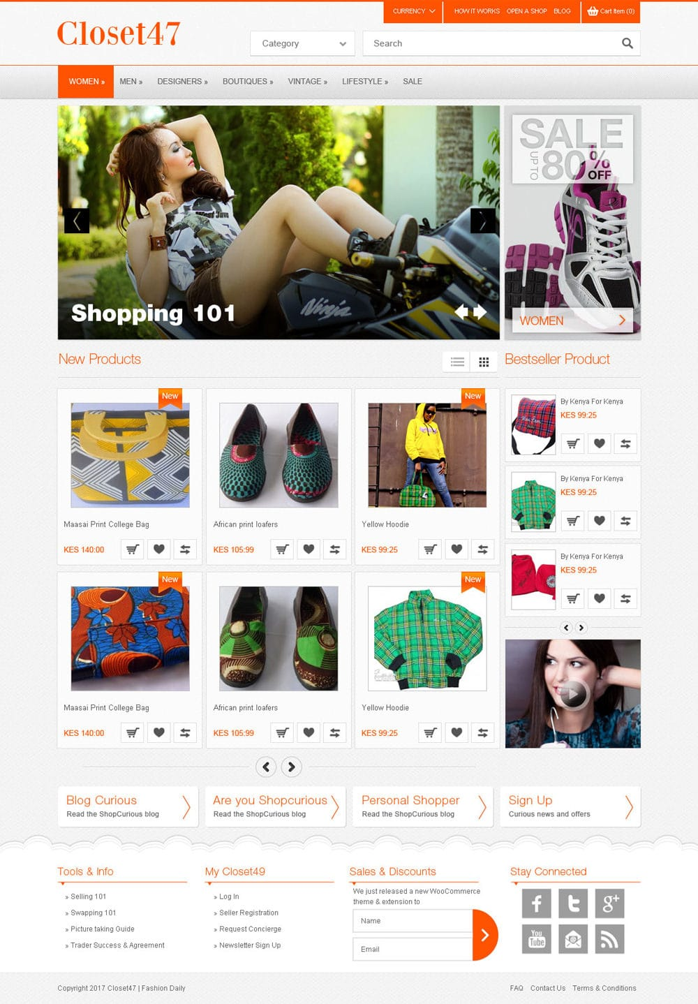 Free Responsive Shopping e Commerce Template PSD