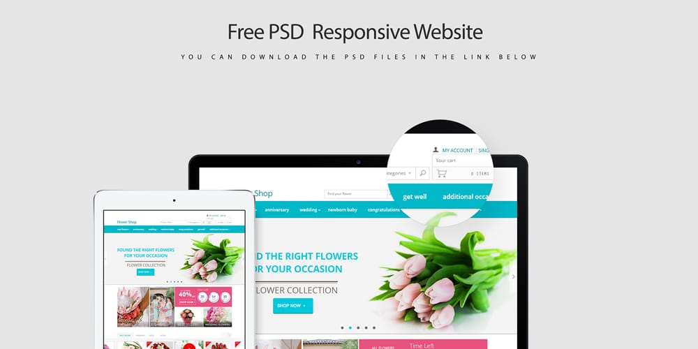 Free Responsive Web Template PSD for E Commerce
