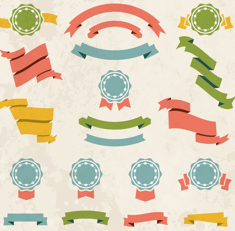 Free Simple Flat Vector Ribbon & Badge Set