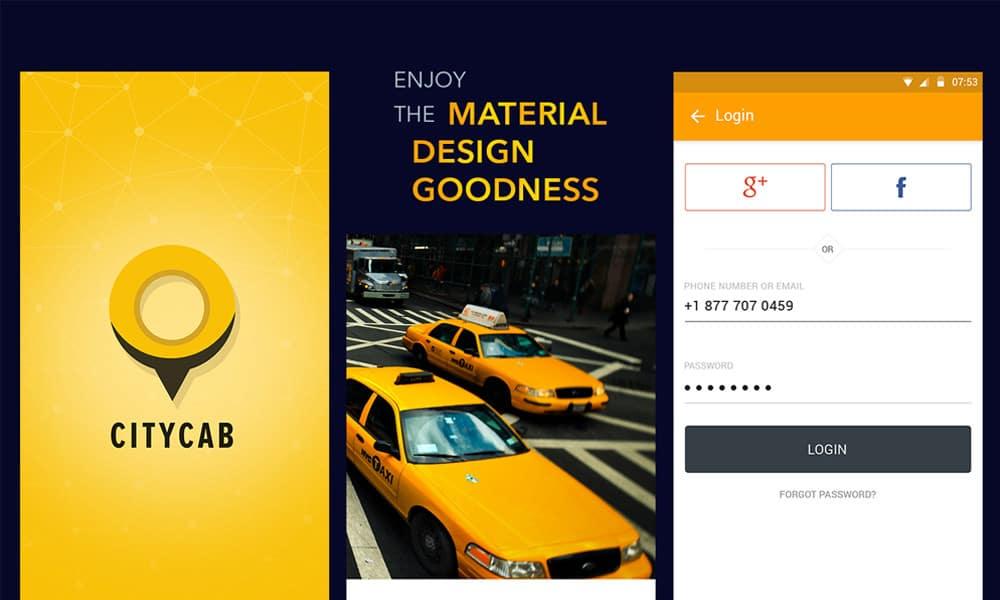 Free Taxi Mobile App UI PSD
