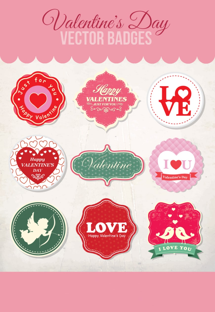 Free Valentine's Day Vector Badges