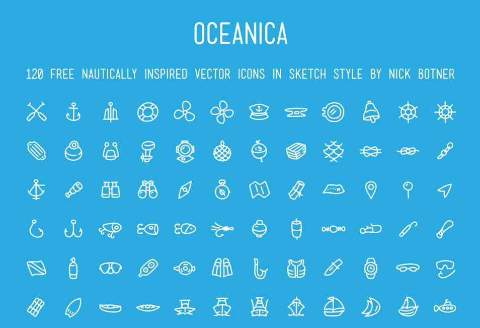 Free Vector File – 120 Nautically Inspired Icons