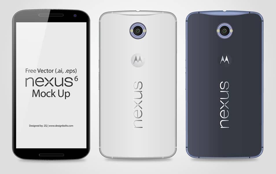 Free Vector Google Nexus 6 Mockup