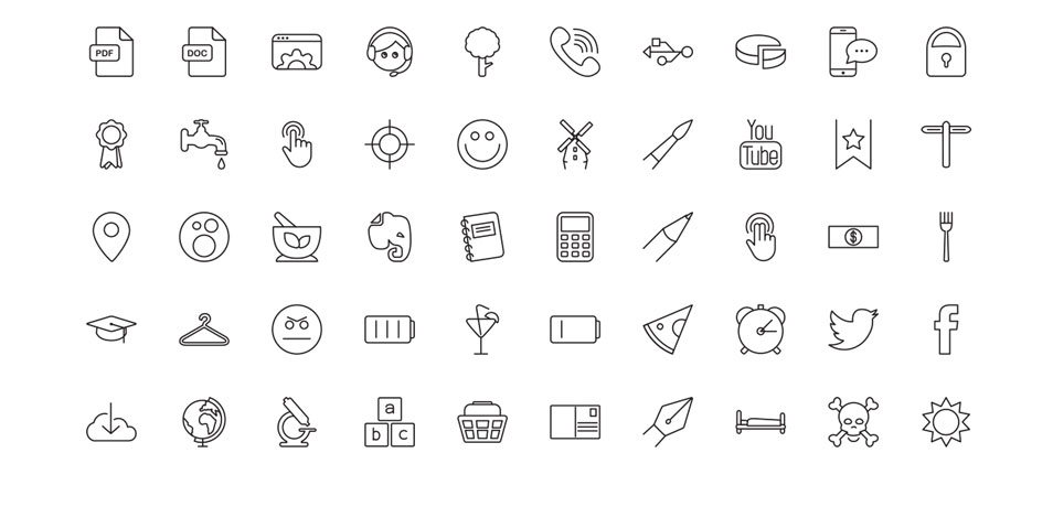 Free Vector Line Icons Set - 50 icons