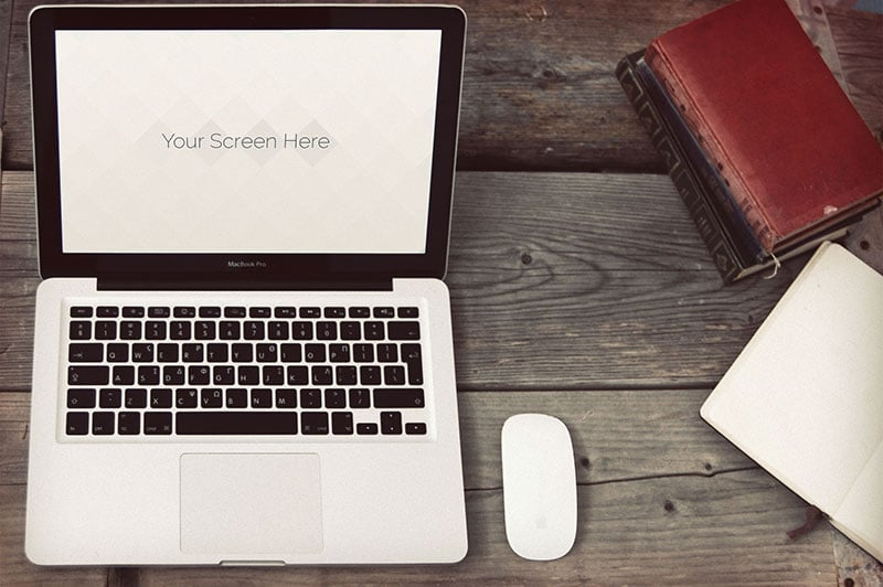 Free Vintage Macbook Photorealistic Mock Ups