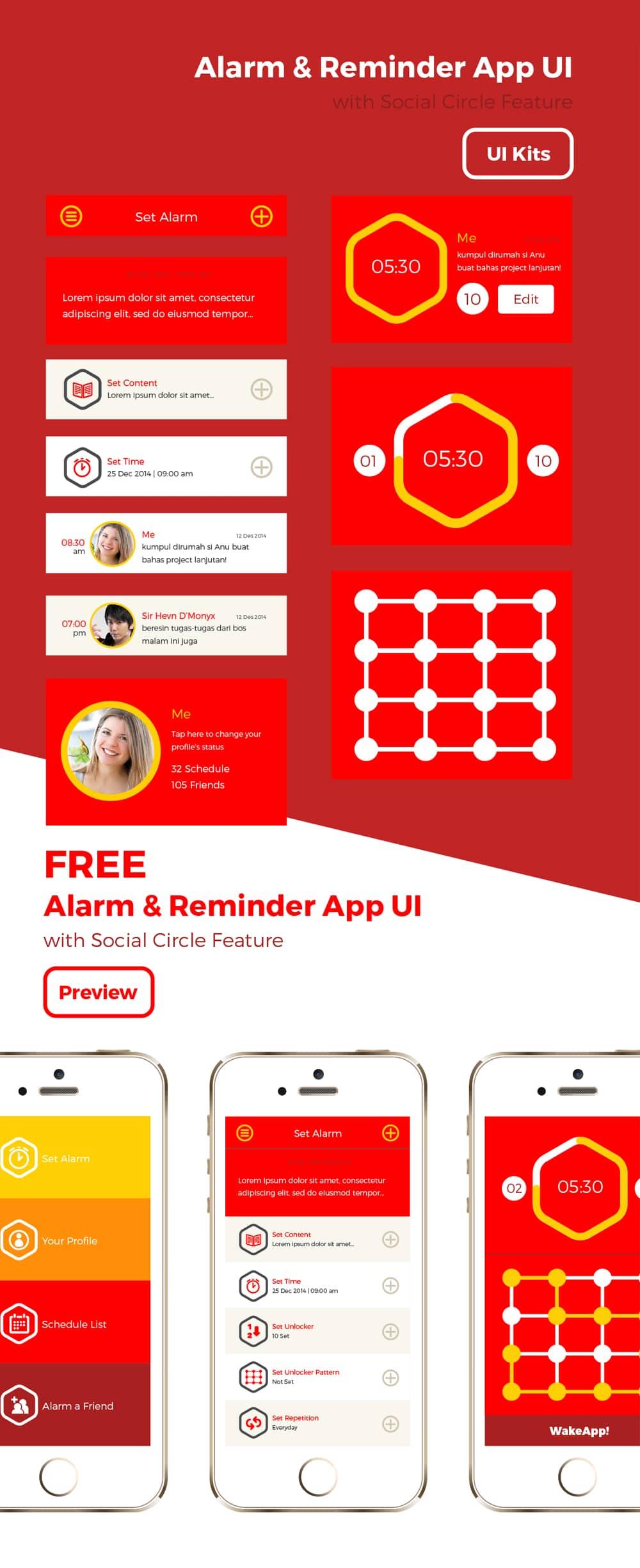 Free Wakeapp UI PSD