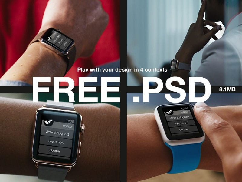 Free Watch Mockups 4x PSD