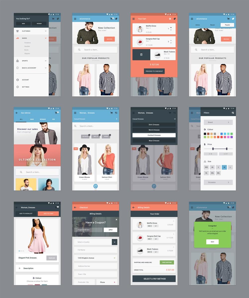 Free Ecommerce App Ui Psd
