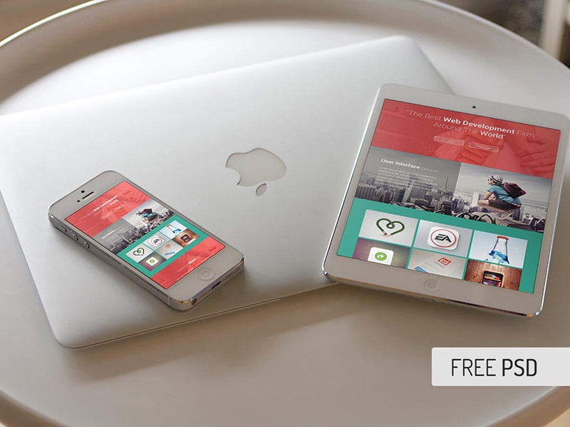Free iPad iPhone Mock Ups PSDFree iPad iPhone Mock Ups PSD