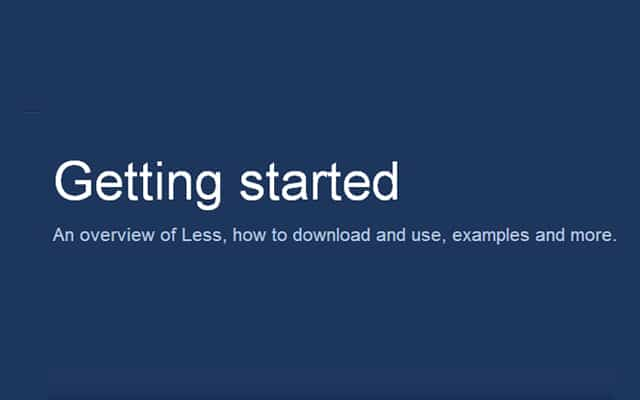 Getting started LESS