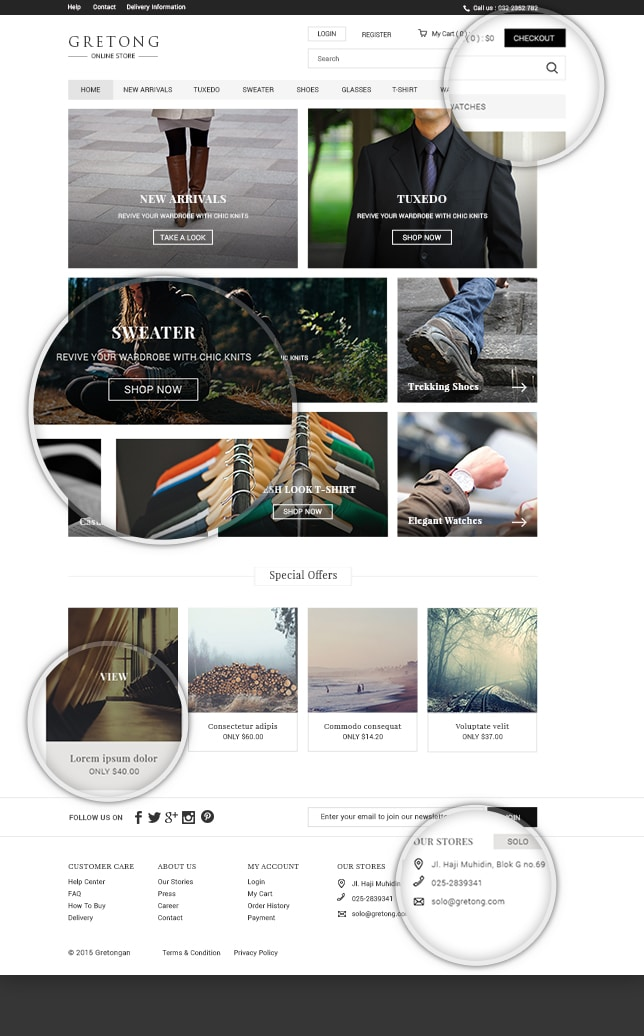 Gretong Free eCommerce Template PSD