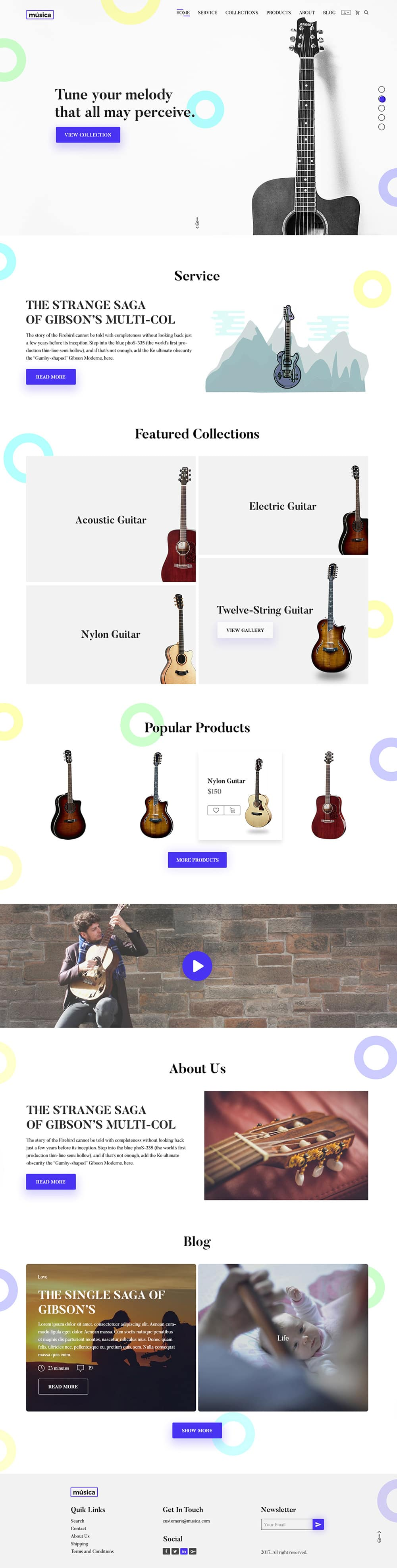 Guitar Store E commerce Web Template PSD