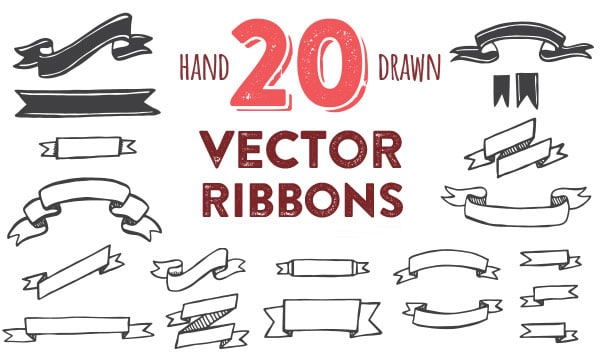 Hand Drawn Vector Ribbons
