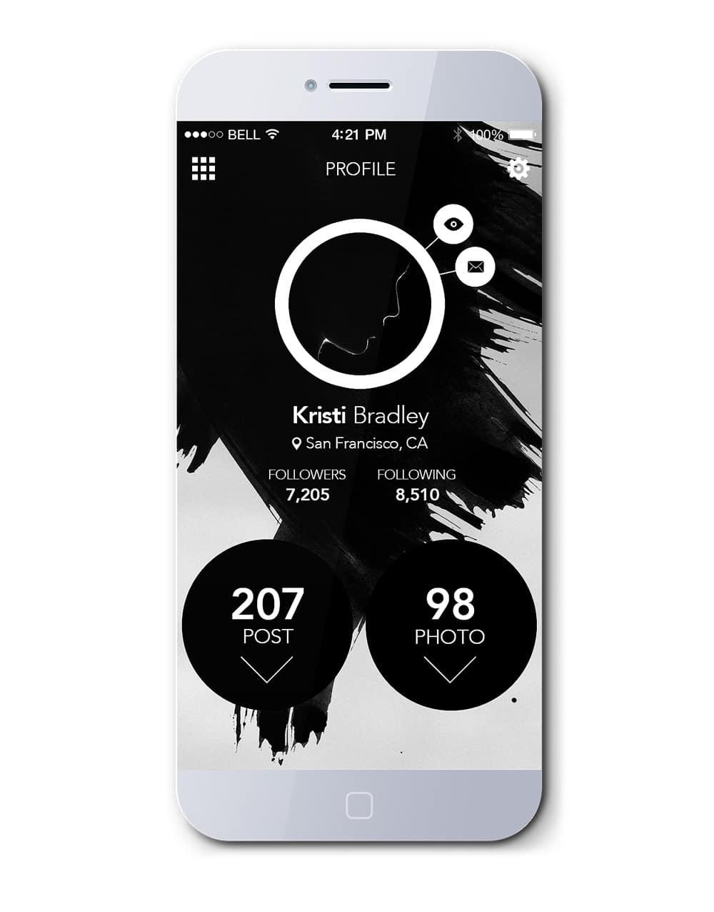 IOS7 App Profile Page Free PSD