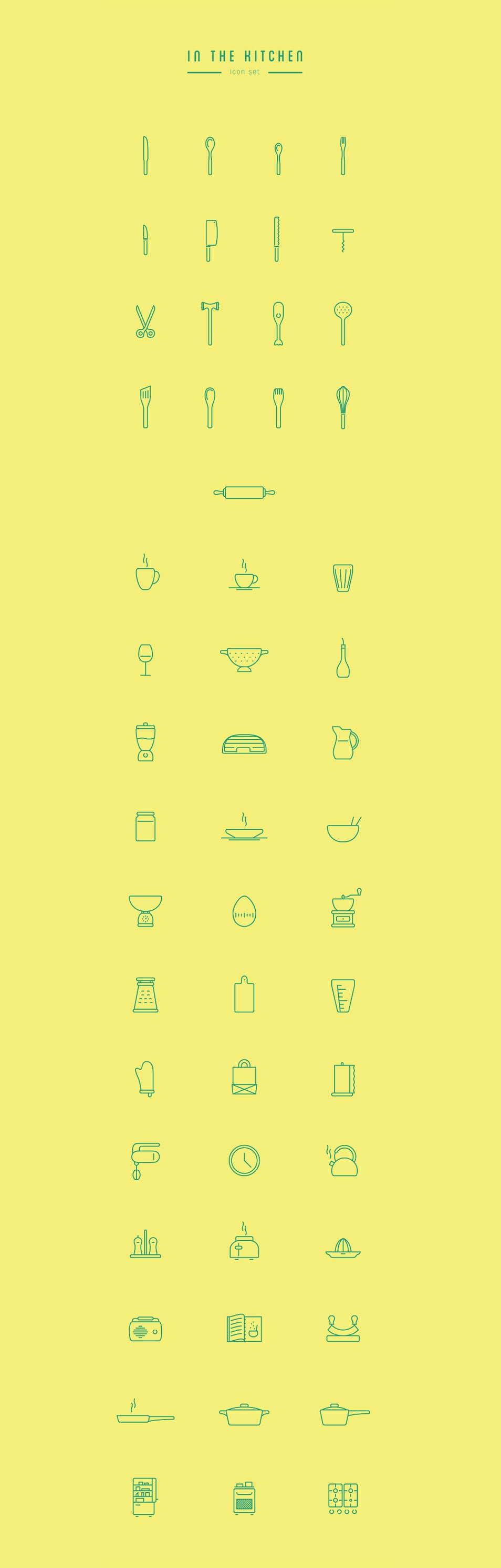 In The Kitchen – Free Icon Set