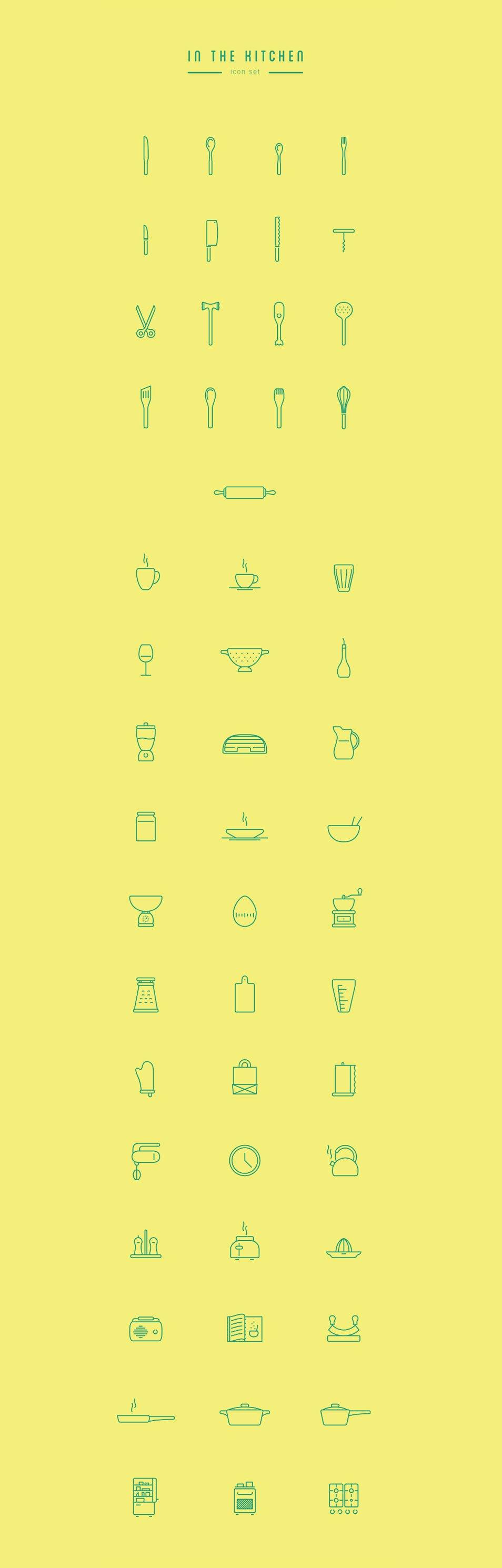 In The Kitchen – Free Icon Set