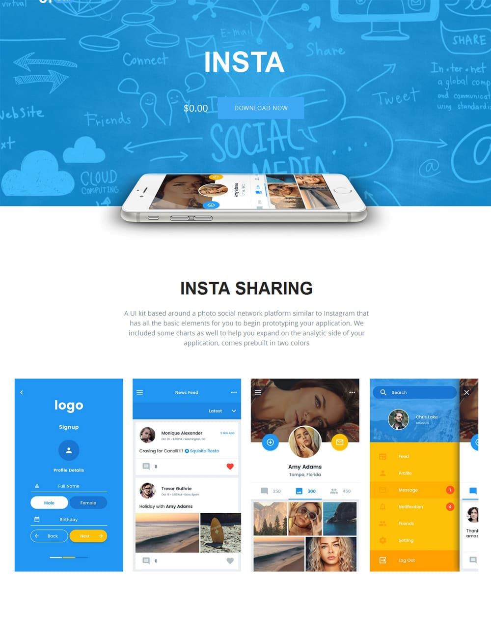 Insta Free Photo Sharing App UI Kit