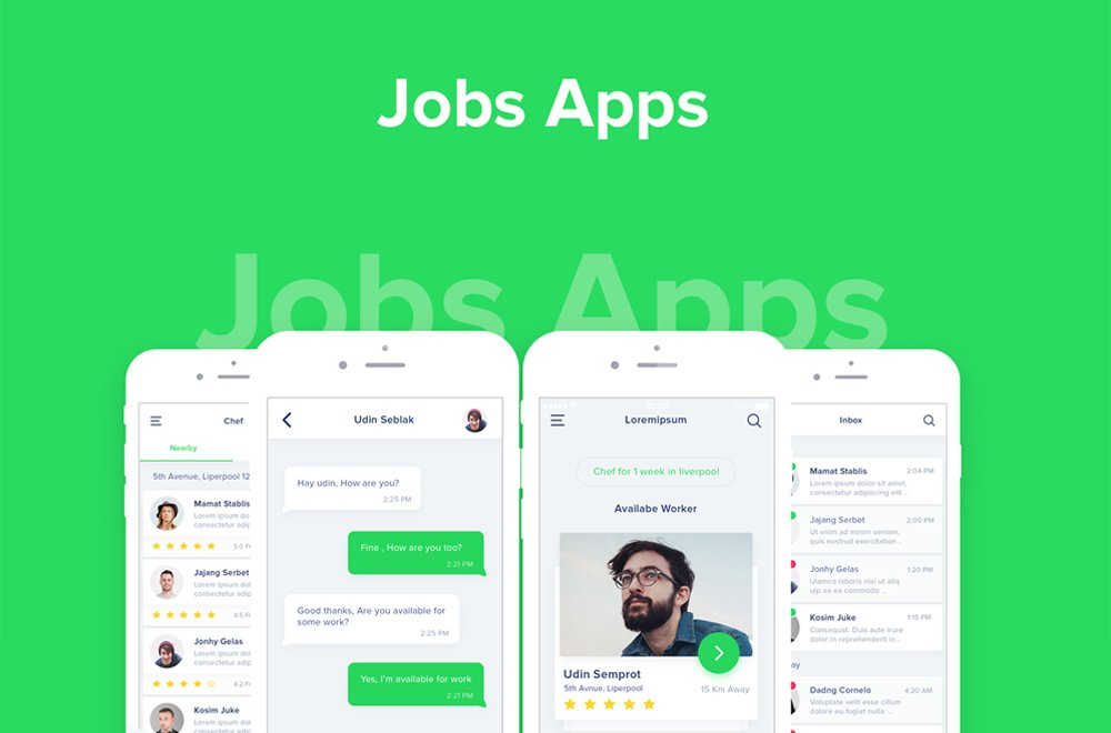Jobs Apps UI Design PSD