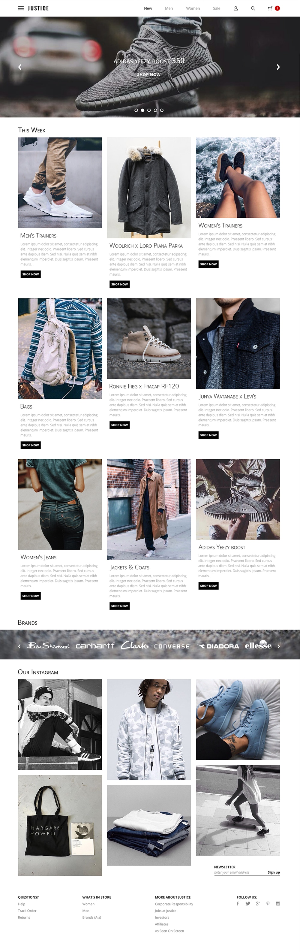 Justice Free Online Shop Web Template PSD