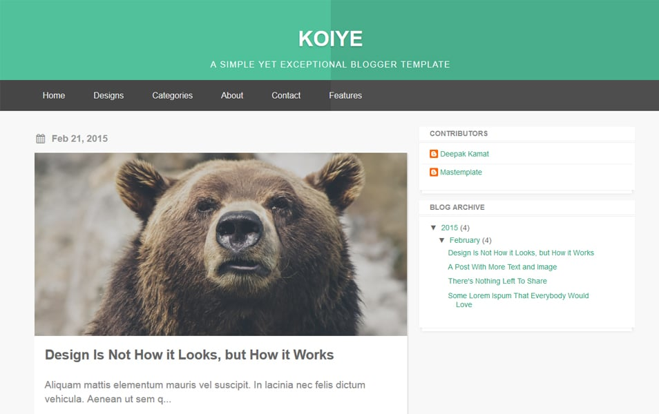 Koiye Responsive Blogger Template