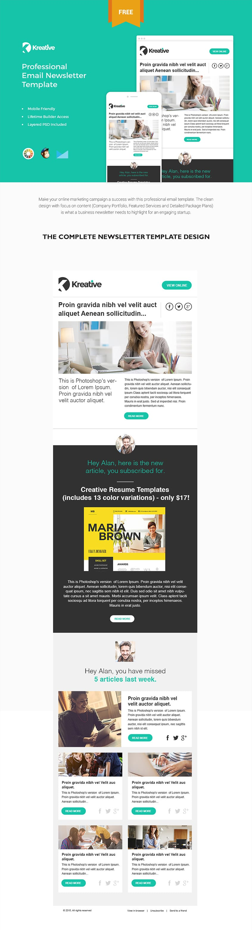 Free Email Newsletter Templates PSD CSS Author - Email brochure template