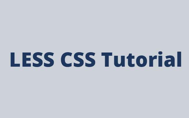 LESS CSS tutorial