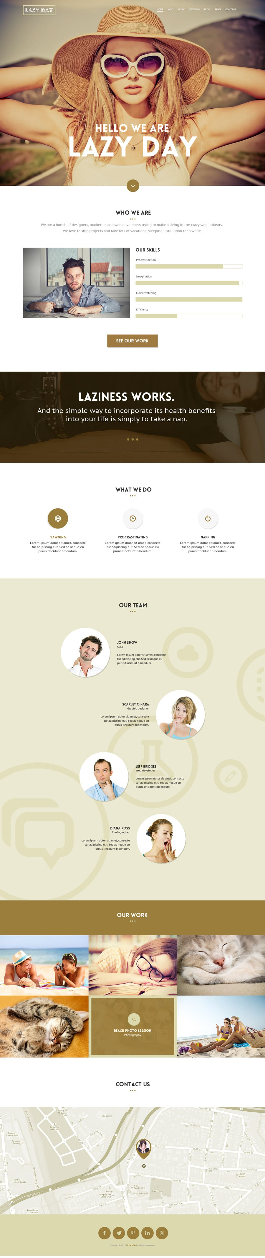 Lazy Day Free One page Web Template PSD