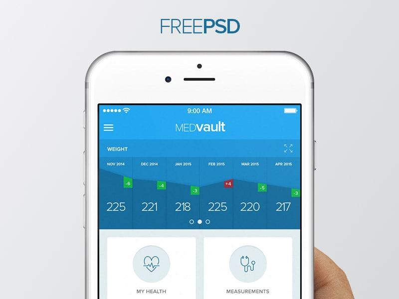 MEDvault Free App UI PSD