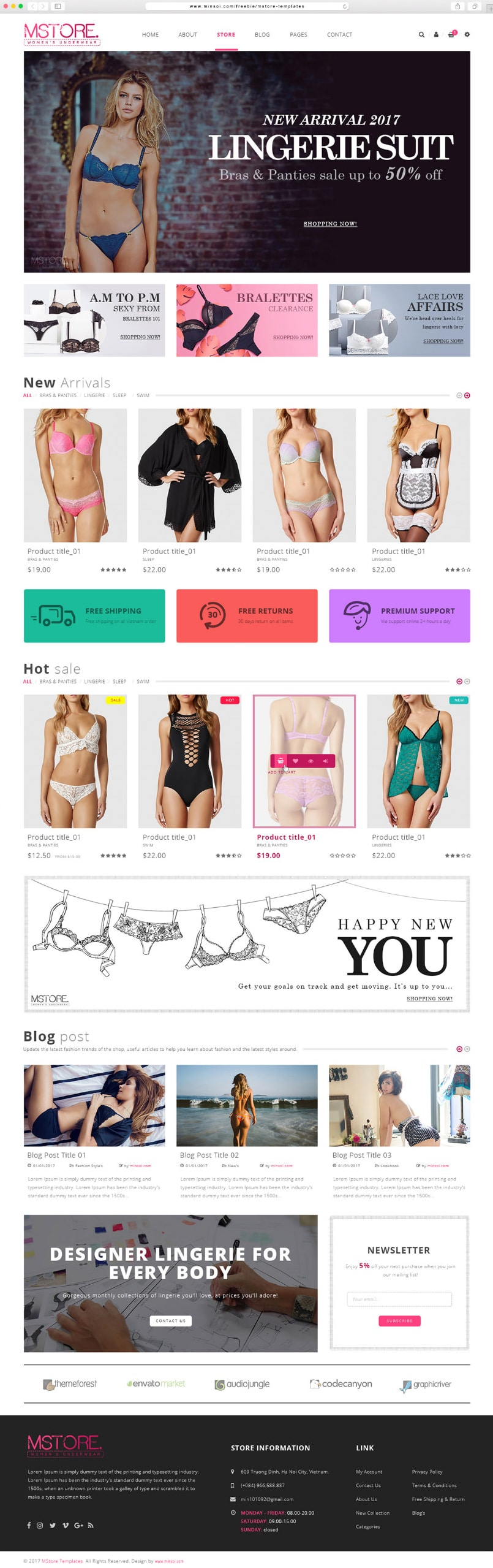 MSTORE - Free E commerce Templates PSD
