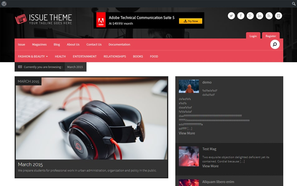 Manage Issue Based Magazine WordPress Theme