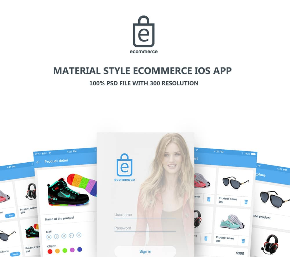 Material style eCommerce App UI PSD for iOS