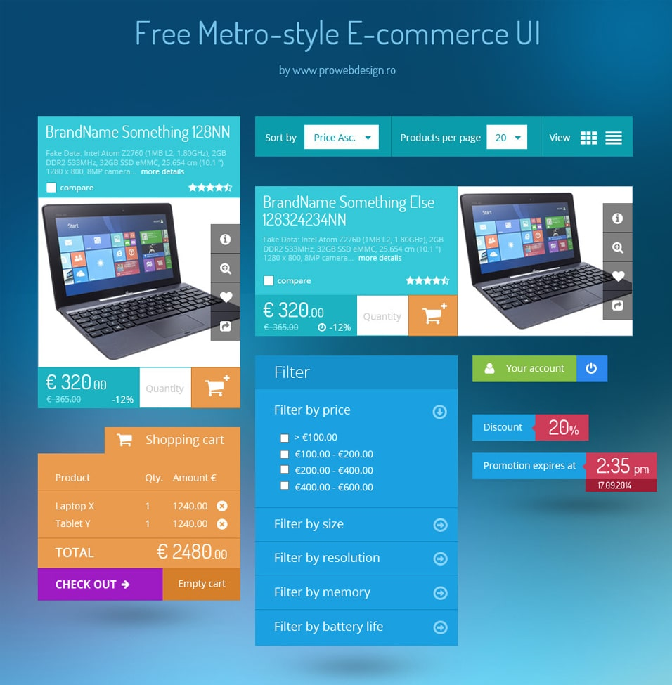 Metro style E commerce UI kit