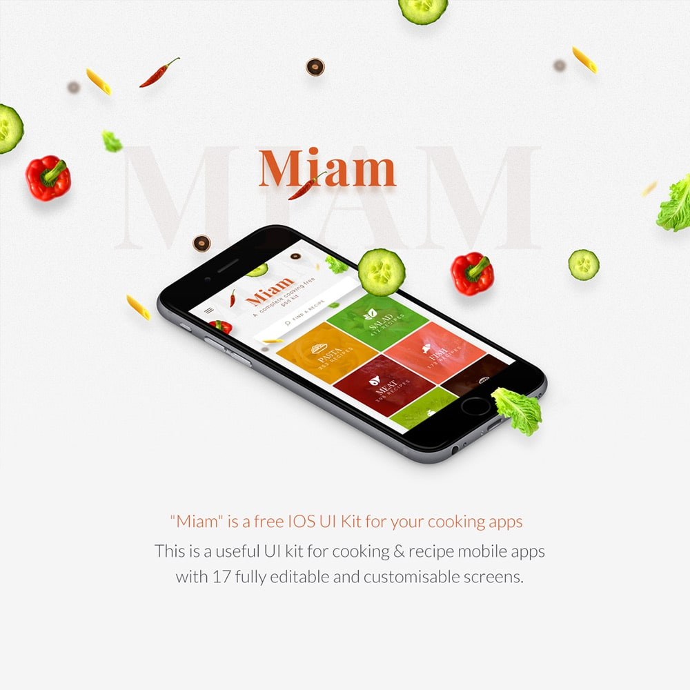 Miam - Free Cooking & Recipe app template PSD