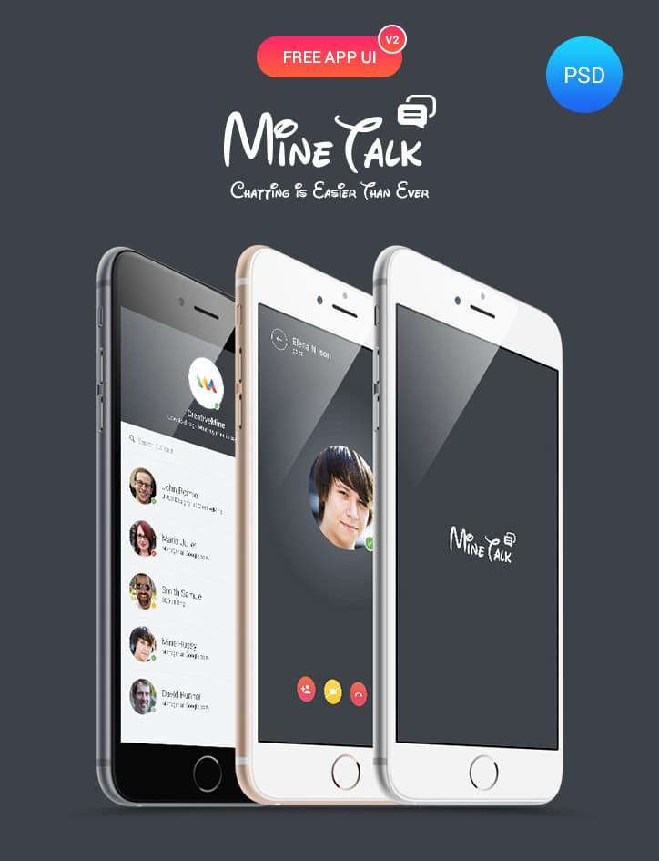 MineTalk App UI PSD