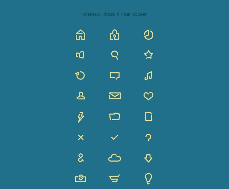 Minimal single line icons
