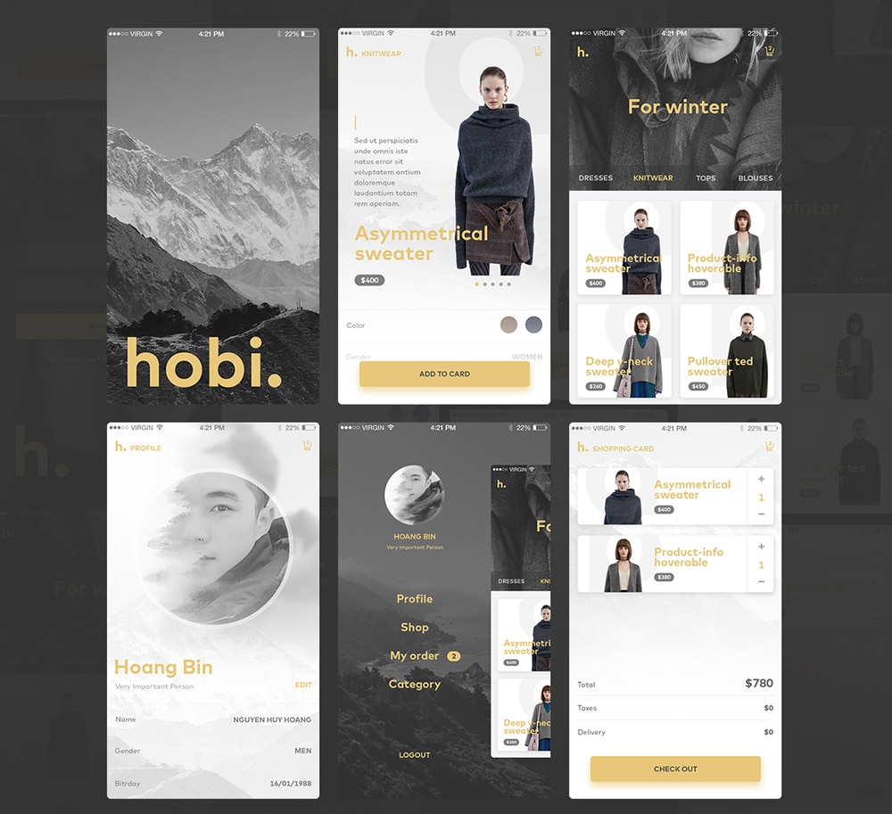 Mobile App UI PSD for Fashion and Ecommerce