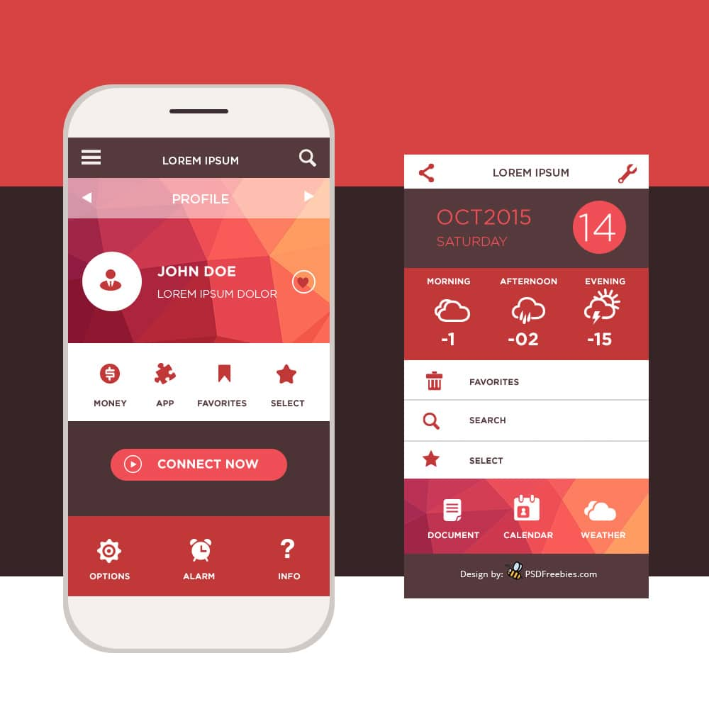 Latest free mobile app ui psd designs css author Architecture designing app