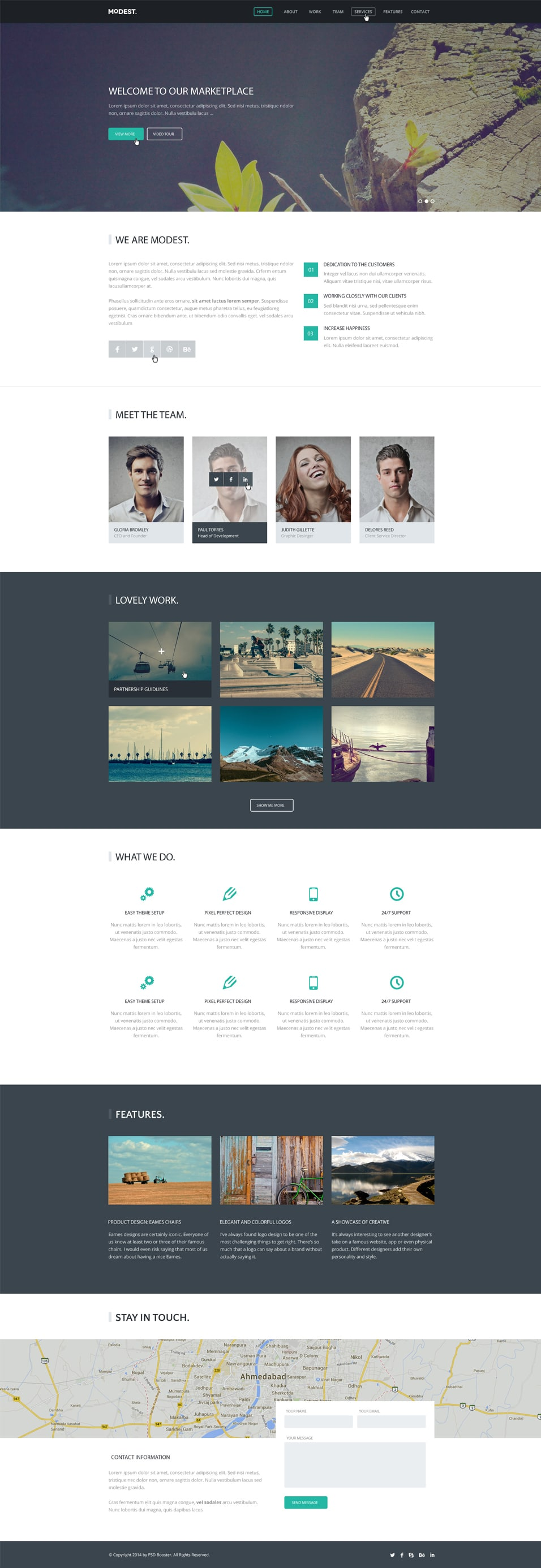 Modest – Landing Page PSD