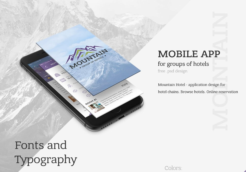 Moutain App UI PSD