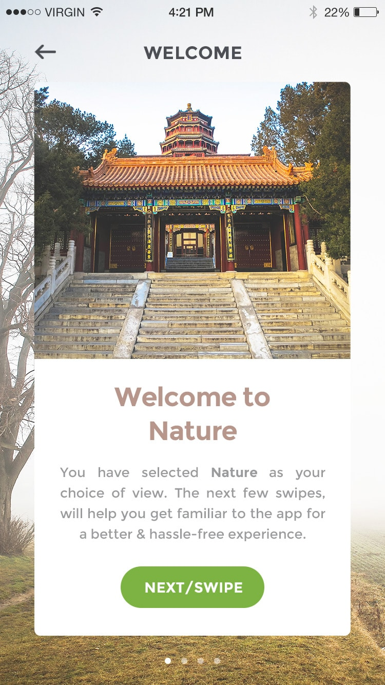 Nature Discovery App UI PSD