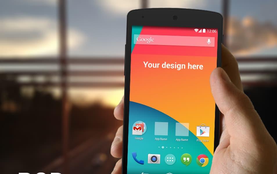 Nexus 5 in hand template