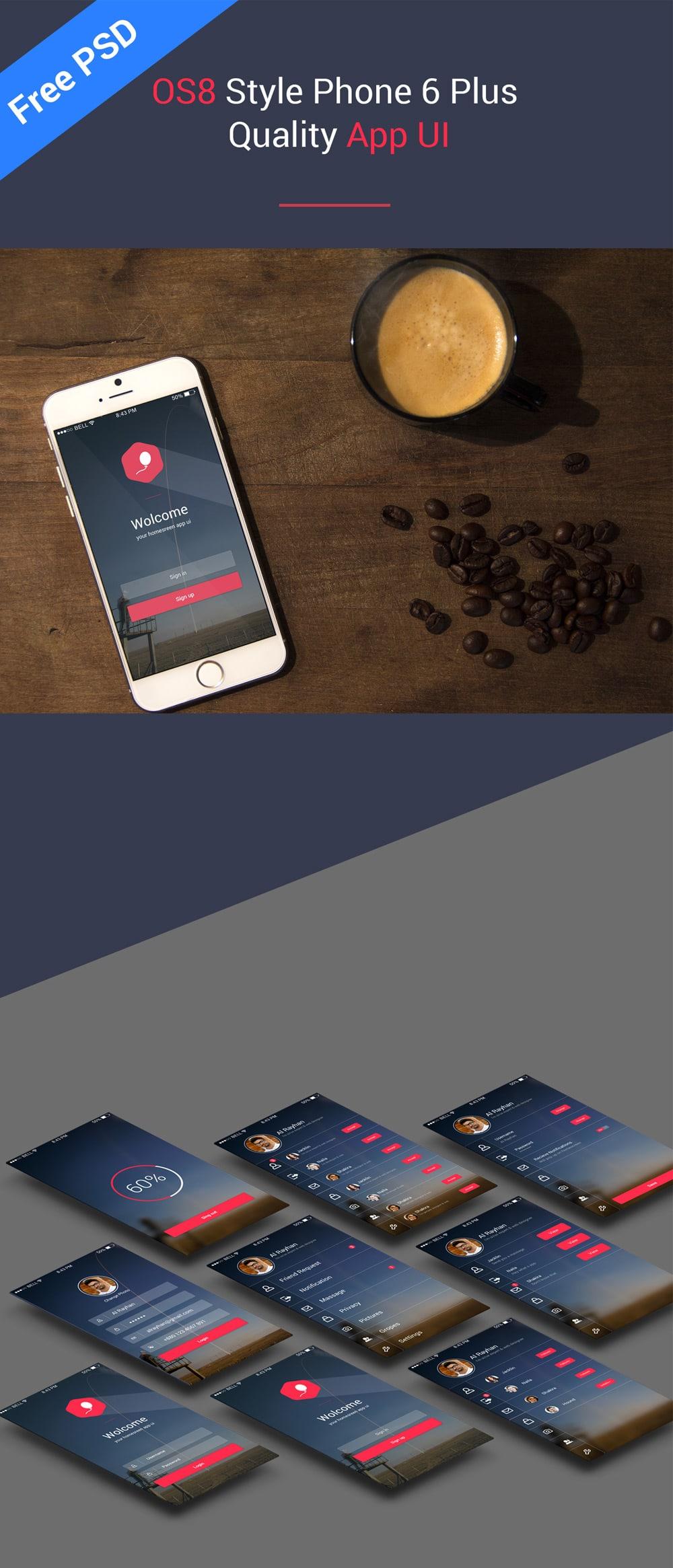 OS8 Style Phone 6 Plus Quality App UI PSD