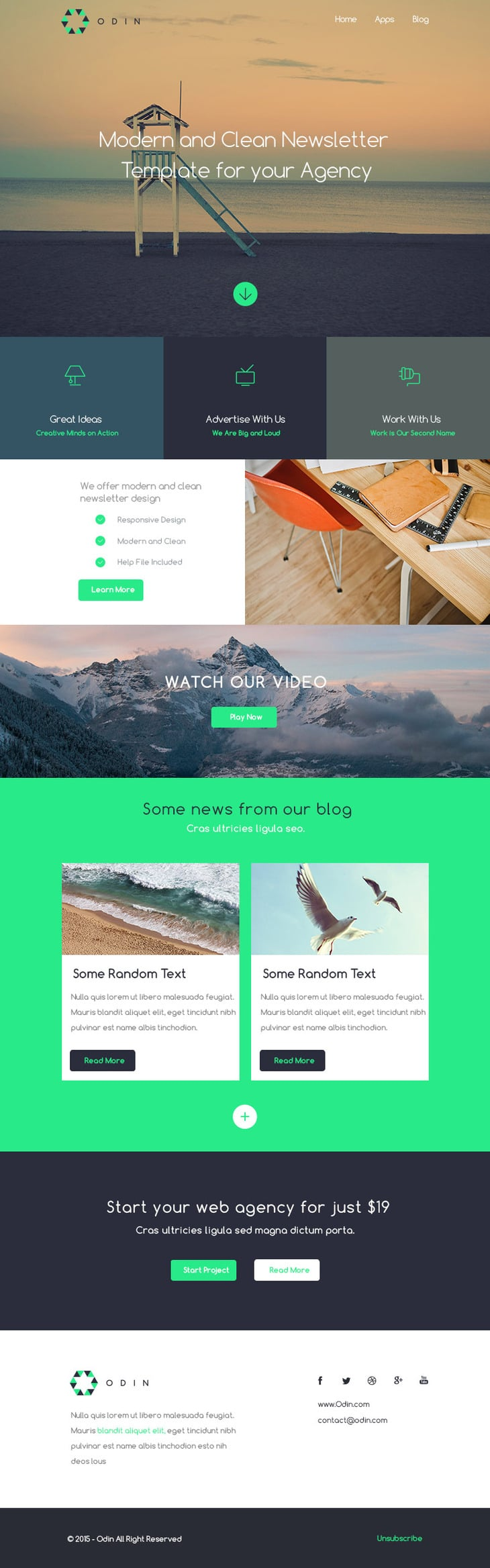 Odin - Free Newsletter Template PSD